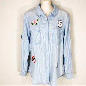 RAILS Carter Patchwork Button Down Chambray Shirt